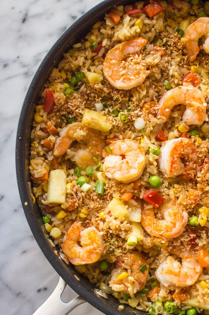 Coconut Pineapple Fried Rice With Shrimp Recipe Pineapple Fried Rice Healthy And Coconut