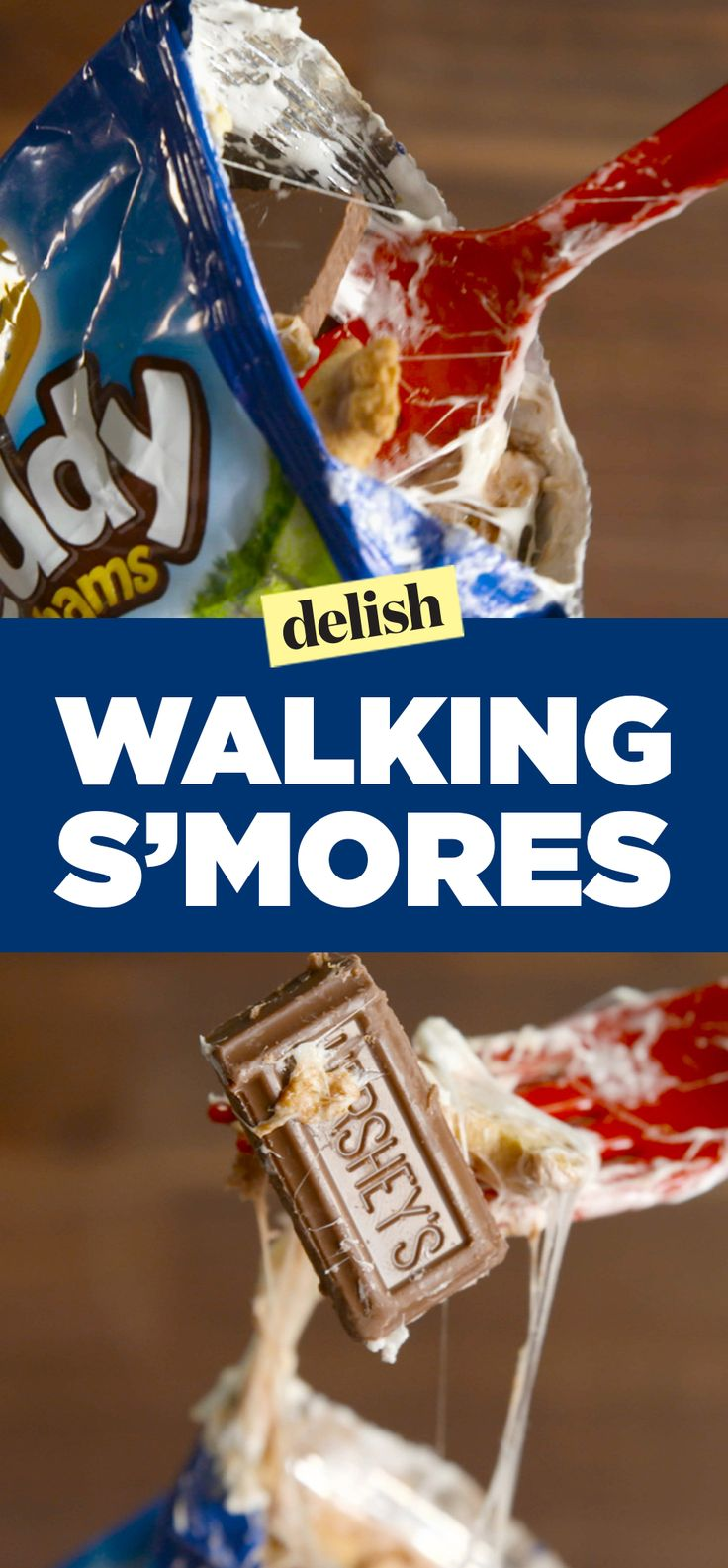 Walking s'mores are so much easier to make than regular s'mores. Get the recipe on Delish.com.