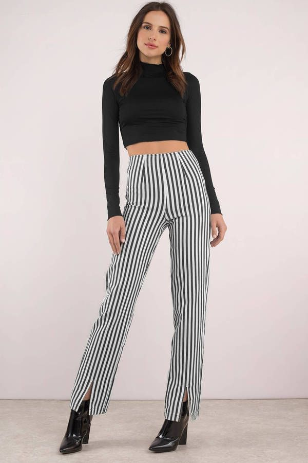 85aed9af51976 Delia Stripe High Waisted Pants in 2019 | Caffeine IV | Pants, Black white  stripes, Striped pants
