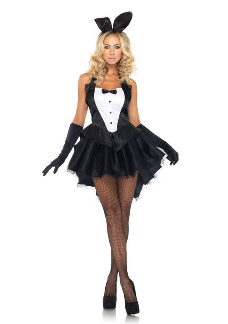 Leg Avenue Tuxedo Bunny Costume £52.99  3 piece Tux & Tails Bunny fancy dress costume by Leg Avenue, includes halter tuxedo top with bow tie accent, tulle tutu skirt with attached tail, and matching ear headband. #bunnygirl #fancydress #costume