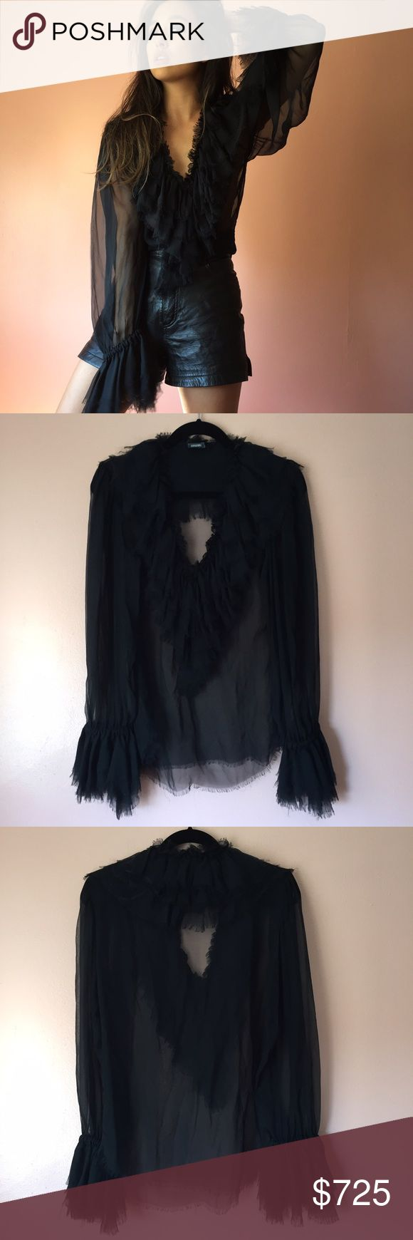 Moschino Couture Sheer Chiffon Blouse Thrill with frills in this gorgeous sheer blouse by Moschino Couture. Features a plunging neckline framed by layers of sheer raw hem ruffles, long sleeves with similar cuffs to collar and long body. Wear with black leather and a perfect cat eye. MSRP $2200. Fits one size. No marked size. No returns allowed. Please ask all questions before buying. IG: [at] jacqueline.pak #moschino #couture Moschino Tops Blouses