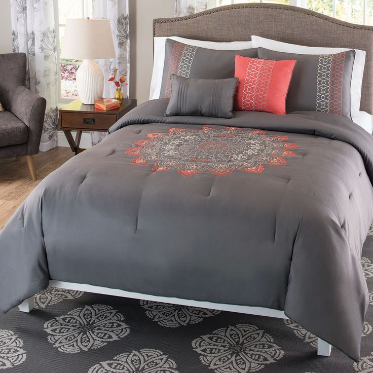 Coral And Gray Bedroom: Bedding Comforter 5 Piece Set, Gray And Coral Pink