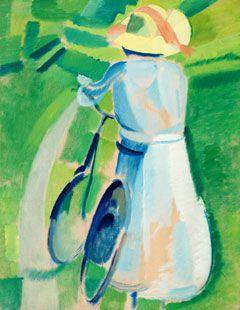 """Harald Giersing, """"Ung dame med cykle"""", 1918. Sjørup Jørgensens samling"""