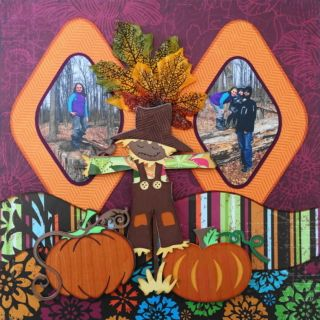 This is a Thanksgiving scrapbook page idea with a fall theme. Love the Cricut images of the scarecrow, pumpkins and cornucopia. The right pumpkin is from Autumn Celebrations. To learn how to make this layout, go to my blog at Halloween Scrapbook 3 - with Fall & Thanksgiving - Me and My Cricut
