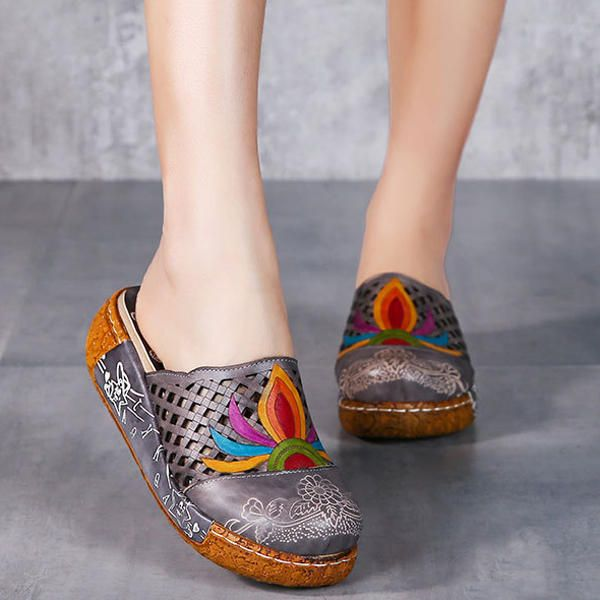 SOCOFY Flower Colorful Hollow Out Soft Slip On Slippers - US$80.24