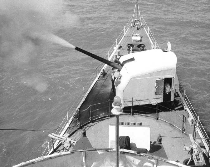 US Coast Guard Squadron Three Cutter Half Moon provides Naval Gunfire Support to US Army Americal units in land from the coast. These barrier patrol Cutters provided Harassment and Interdiction combat patrols along the deep water coast in support of the smaller cutters and swift boats that worked the shoreline, bays, and rivers of South Vietnam.