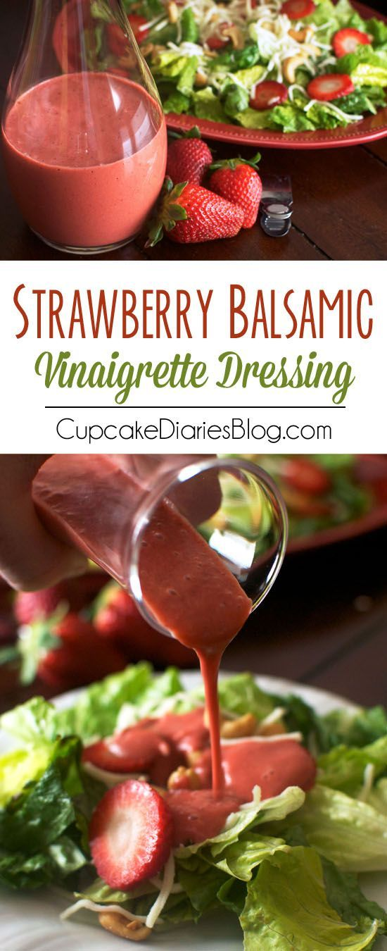 Strawberry Balsamic Vinaigrette Dressing - This creamy salad dressing tastes like it came from a restaurant! Perfect for a dinner party or summer salad.