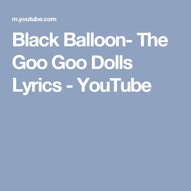 Goo Goo Dolls - Black Balloon (Chords)