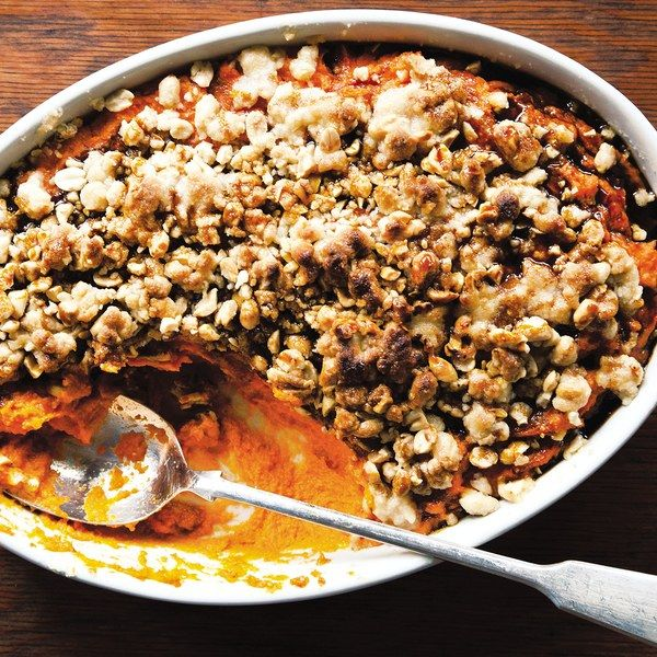 """""""In a Southern family, there's always someone who makes one dish, one thing they're truly great at,"""" says Tandy Wilson of City House, in Nashville, Tennessee. """"These recipes tend to be 'talked,' passed down from cook to cook."""" That's the case with the chef's favorite sweet potato casserole, a dish inherited from his grandmother. Instead of the standard marshmallow topping, the recipe uses sorghum syrup for a rich, deep sweetness, and chopped roasted peanuts for a pleasing crunchy contrast…"""