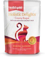 Solid Gold Holistic Delights Creamy Bisque with Salmon & Coconut Milk Grain-Free Cat Food Pouches, 3-oz, case of 12