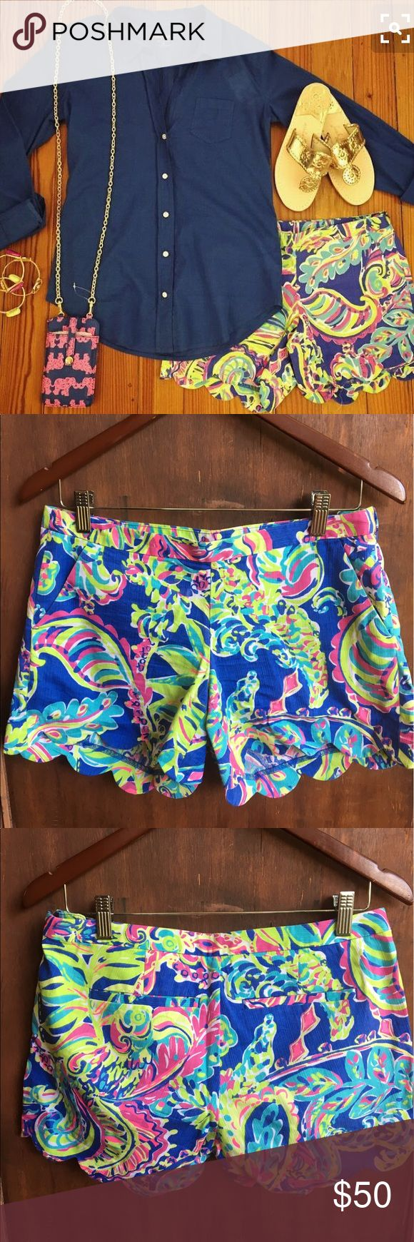 Lilly Pulitzer Scalloped Shorts ONE WEEK FLASH SALE ‼️ on 5/17 i am taking EVERYTHING to the local Platos and donating what they dont take. which means im ACCEPTING most OFERS!              NOW OR NEVER.                          BUNDLE this with another item to save! These are in great condition! Never put in the dryer. Smoke free pet free home. Theyre too big on me now. If you have a 0 id be interested. I really like that these shorts zip on the side because it has a smoother look when you…