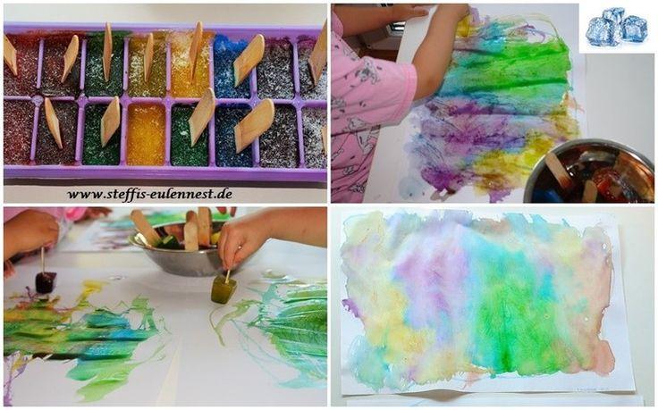 Basteln mit Kindern , Basteln für Kinder, Kita, Krippe, Kindergarten, Malen mit Eiswürfeln , Eiswürfel mit Lebensmittelfarbe, Kinder malen, Color, Ice Cube Painting