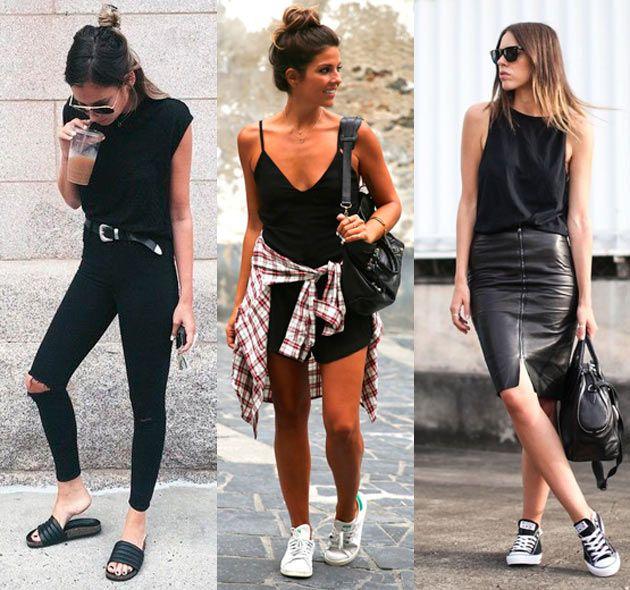 Dicas de como usar preto no verão. Slide, um toque de grunge na camisa xadrez ou uma saia lápis de couro pras mais finas - que tal?