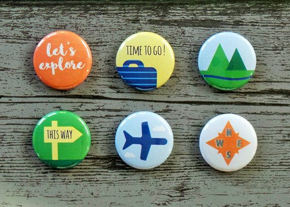 Time To Go Travel Flair Buttons Scrapbooking Flair Badges