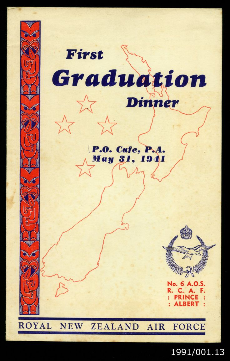 Menu from the graduation of Course 20, No. 6 Air Observers School, Royal Canadian Air Force, 31 May 1941. From the collection of the Air Force Museum of New Zealand.