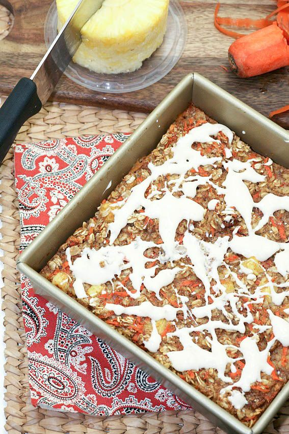 Enjoy the flavors of carrot cake for breakfast in a healthy way with this easy Carrot Cake Baked Oatmeal. Taste like cake for breakfast.