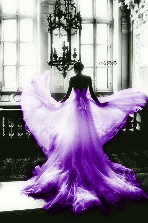 black and white with purple. I just thought this was beautiful with the light shining through the dress, almost like it was glowing!