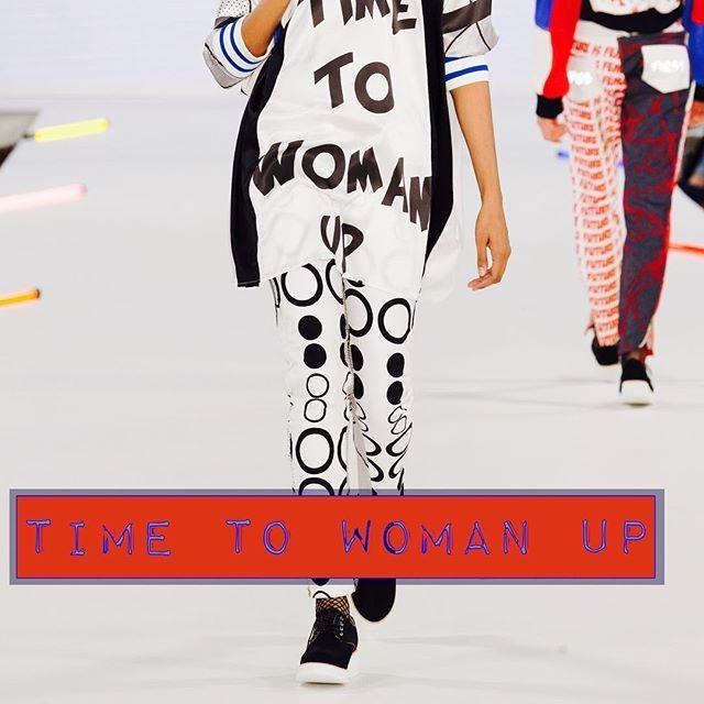 "Sophie Maddocks - Manchester School of Art - Graduate Collection 2017. Feminism. Comic. Pop Art. London Graduate Fashion Week. ""Time to Woman Up."" Digitally printed, silk dress. Digitally printed jeans."