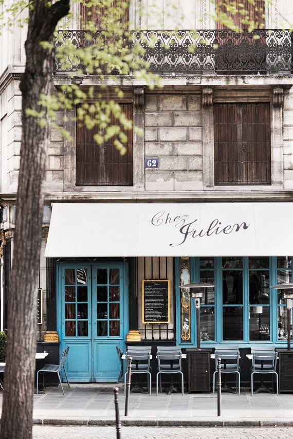 Fotografía de viajes fotografía del café de París, Chez Julien, arte de la gran pared, decoración de la cocina francesa, bellas artes