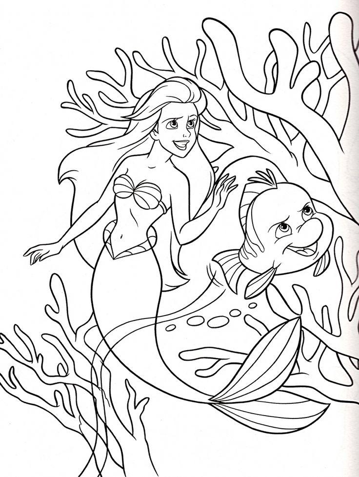 71 best the little mermaid 1-3 ~ disney coloring pages images on ... - Disney Princess Ariel Color Pages