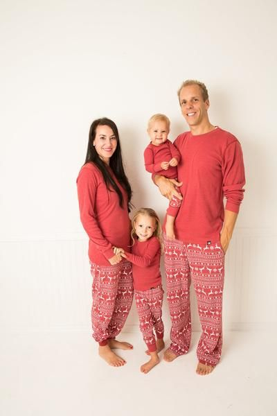 4e517a325c Red Nordic Reindeer Kids  Pajama Set - Red Top  Matching Family Pajamas