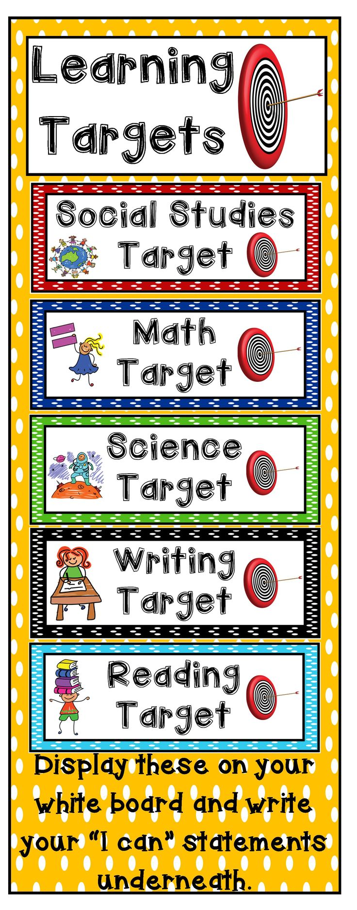 5 Learning Target Signs for the basic subjects: reading, writing, math, science and social studies. Display these signs and write your learning target underneath. A learning target helps students grasp the lesson's purpose--why it is crucial to learn this chunk of information, on this day, and in this way.