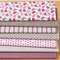 Lot de 7 coupons patchwork, rose/taupe