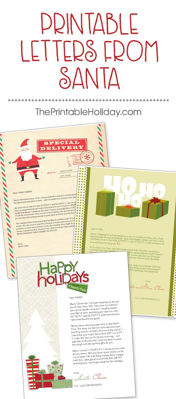 Create a letter from Santa to surprise your child and start building anticipation for a wonderful Christmas season. Our printable Santa letters come with text that can be customized according to the child. Add details of your child's life to your Santa mail, including favorite activities and favorite Santa gifts. | Printable Letters from Santa from #ThePrintableHoliday