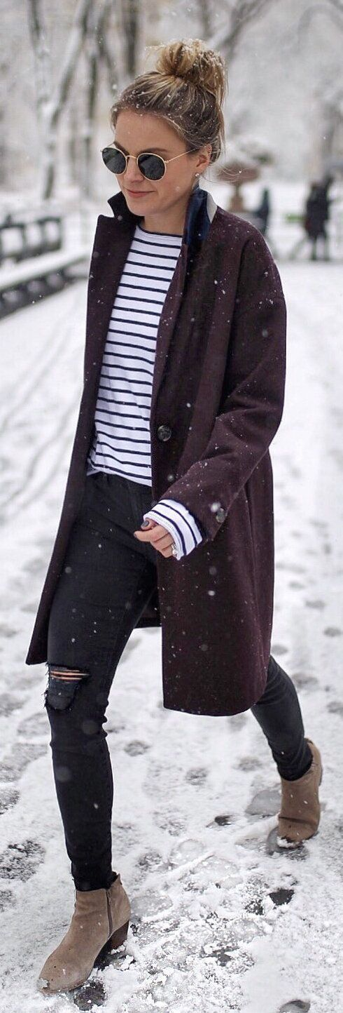 #winter #outfits purple coat