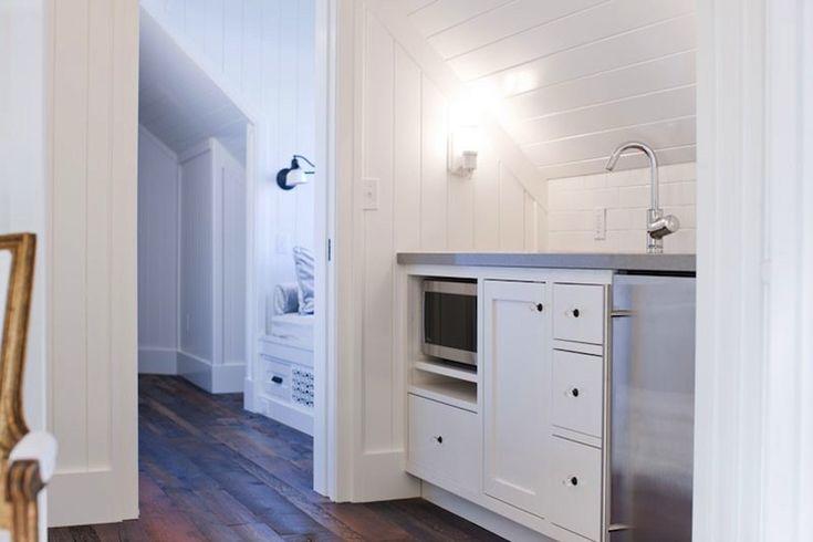 Washington School House Hotel - bedrooms - built-in bed nook, rustic wood floors, beadboard, beadboard backspalsh, white beadboard backsplas...