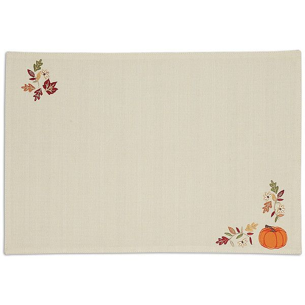 Design Imports Off-White Pumpkin Vine Embellished Place Mat ($43) ❤ liked on Polyvore featuring home, kitchen & dining, table linens, ivory table linens, beige placemats, pumpkin placemats, ivory placemats and cream placemats