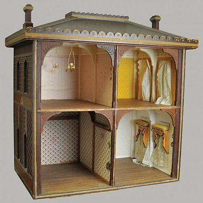 Four-room-wood-antique-open-large-doll-house                                                                                                                                                     More