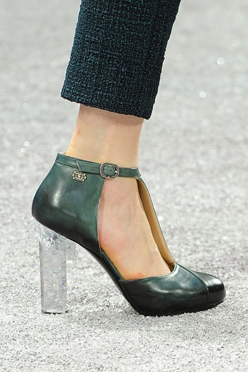 Karl Lagerfeld for Chanel Fall 2012 Collection - lots of lucite heeled pumps and boots. Very interesting stuff.