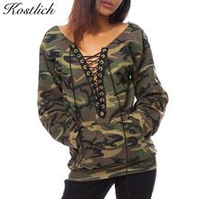 Kostlich 2016 Automne Camouflage Sweat Femmes À Manches Longues Croix Dentelle Up Dames Pull À Capuche Col V Profond Sexy Femmes Hoodies(China (Mainland))