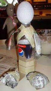 paper mache using pop bottle base