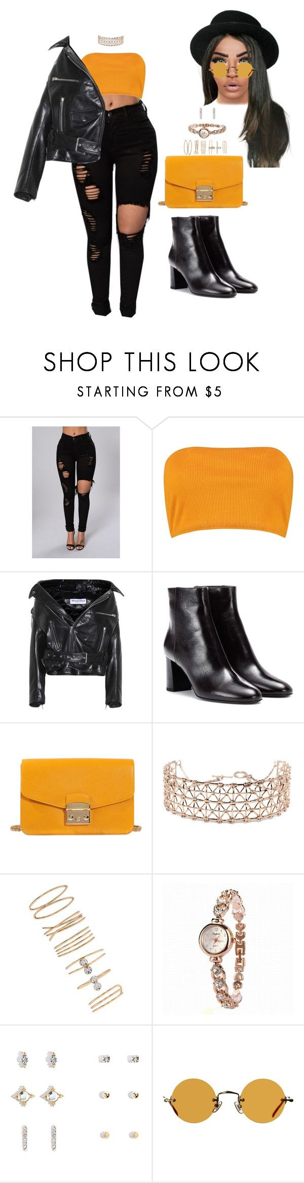"""Untitled #3032"" by mrkr-lawson ❤ liked on Polyvore featuring Boohoo, Balenciaga, Yves Saint Laurent, Furla, Co.Ro, Forever 21 and Hakusan"
