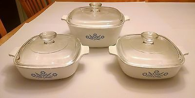 Corning Ware Blue Cornflower Casserole Dishes w/ Pyrex Lids 6 piece lot