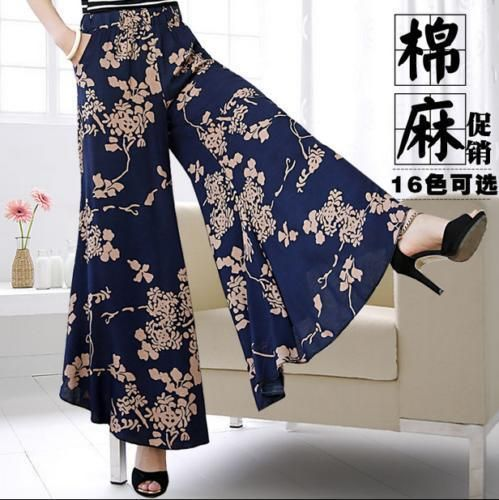 Women Ethnic Trend Wide Pants Floral Beach Cotton Linen Loose Trousers Casual Sz