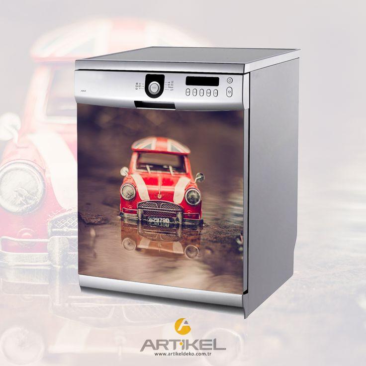 """Kırmızı Vosvos"" Bulaşık Makinesi Sticker.. #sticker #car #araba #vosvos #beyazeşyasticker"