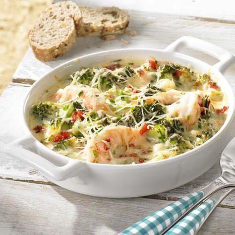 Scampigratin met broccoli + stukje visfilet bij doen (met gruyère en parmezaan)