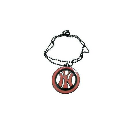 Price  $4.99 NY Pendnat Hip Hop w/ Black Chain Necklace 24 Inches Material Used : Black beaded chain with Red Enamel NY Sign Pendant in Circle with black border Necklace Length : 24 inches Pendant : NY Sign Pendant & measure 2 inches long & wide