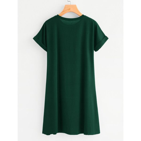 Rolled Sleeve Basic Tee Dress (770 RUB) via Polyvore featuring dresses, green dress, green color dress, basic tee shirts, basic t shirt и basic tshirt