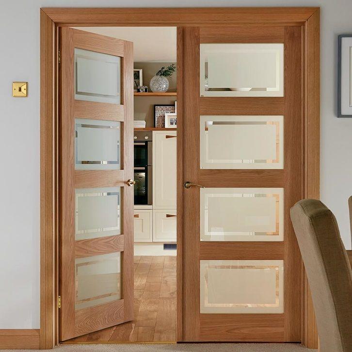 Let Light Into Your Home With Our Four Windowed Shaker Style Internal Door Richly Veneere Oak Glazed Internal Doors Sliding Doors Interior Wood Doors Interior
