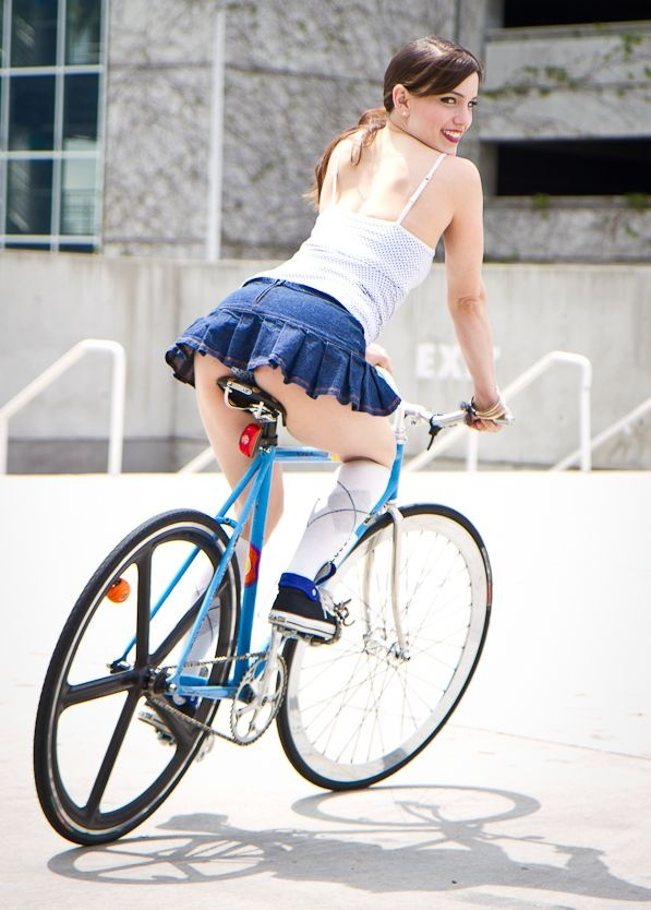Girl rides on deo bottle 3