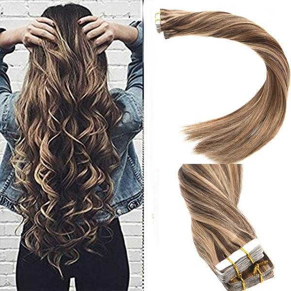 Tape in Human Hair Extensions Brown Highlighted Blonde
