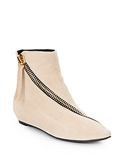 Suede Asymmetrical Zip Ankle Boots