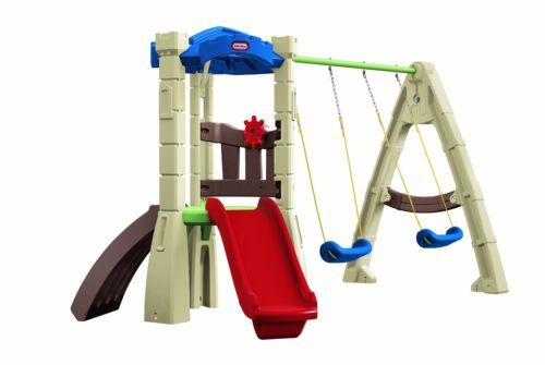 Swing set Little Tikes Lookout Plastic Swing Set toddlers slide swings