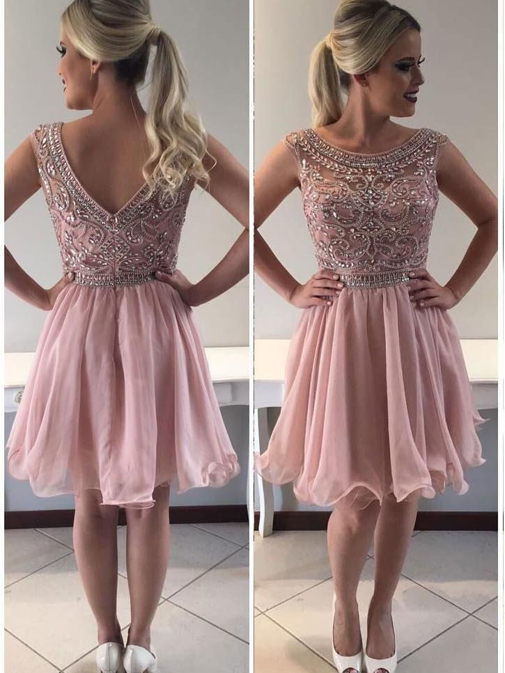 Scoop Beaded Bodice Short Prom Dress With Crimp Skirt Chic Blush Pink Cocktail Dress Homecoming Dresses Cute Homecoming Dresses Pink Homecoming Dress