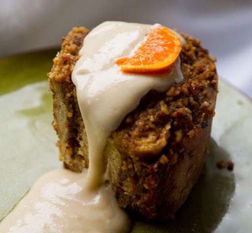 coffee cake cinnamon rolls with orange frosting. vegan