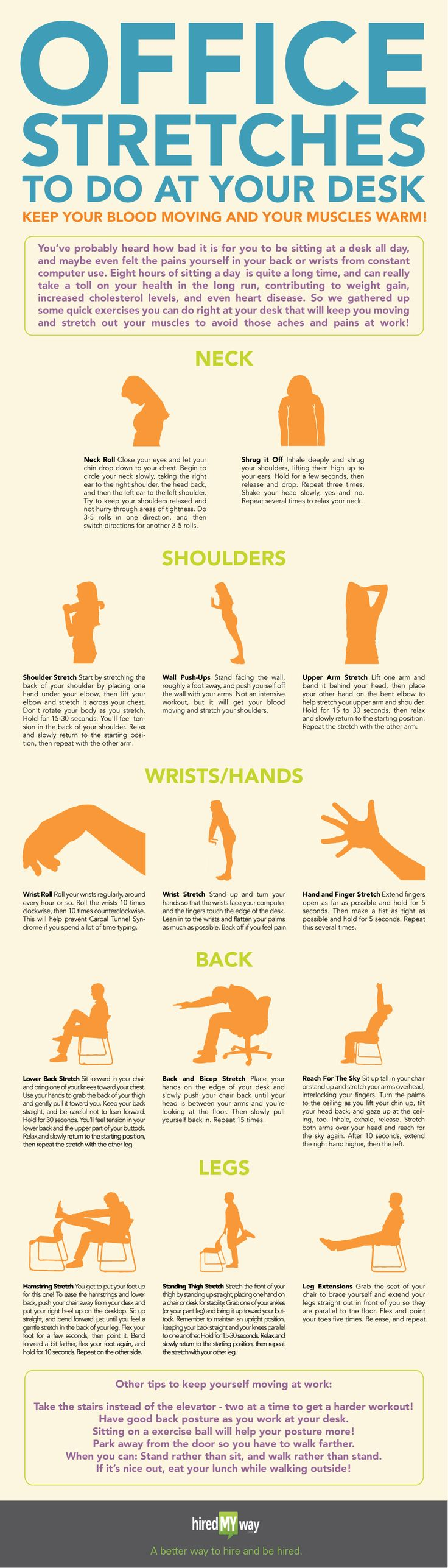 Office Stretches! Neck and back pain from sitting at your desk all day? Check out these stretches to help you out!
